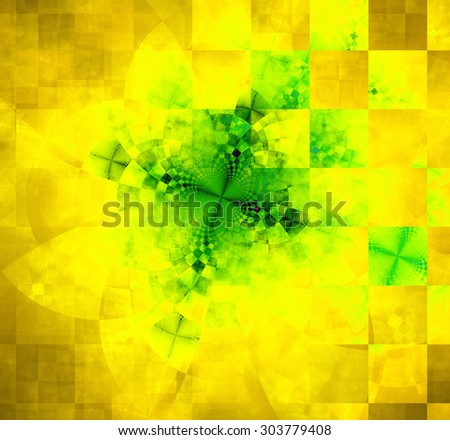 Abstract geometric background with columns and rows of squares and a star-like distorted pattern mixed in to, all in dark vivid glowing yellow and green - stock photo