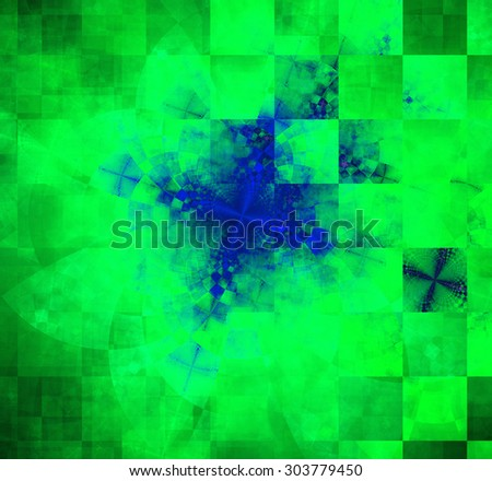 Abstract geometric background with columns and rows of squares and a star-like distorted pattern mixed in to, all in dark vivid glowing green and blue - stock photo