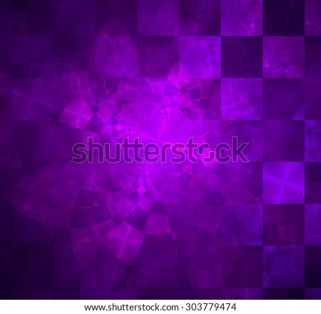 Abstract geometric background with columns and rows of squares and a star-like distorted pattern mixed in to, all in glowing blue pink - stock photo