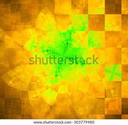Abstract geometric background with columns and rows of squares and a star-like distorted pattern mixed in to, all in bright vivid yellow,green,orange - stock photo