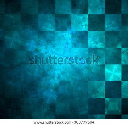 Abstract geometric background with columns and rows of squares and a star-like distorted pattern mixed in to, all in shining blue - stock photo