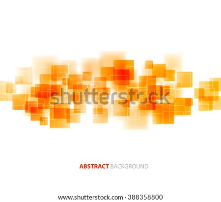 Abstract geometric background with orange squares. Brochure design. Orange shiny transparent square technical background. Abstract technology design. Transparent geometric background - stock photo