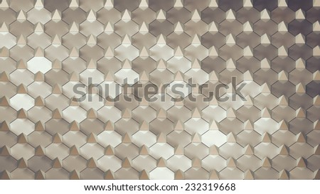 abstract geometric background with small pyramides arranged on plane - stock photo
