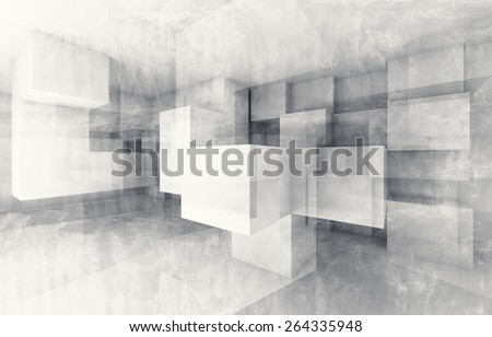 Abstract geometric background with white chaotic cubes structure. 3d render with concrete texture - stock photo