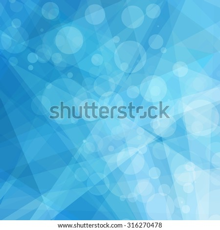 abstract geometric blue and white background, bright shades of sky blue, contemporary or modern art style background with white bokeh lights and triangle shapes and stripes - stock photo