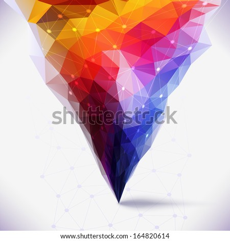 Abstract geometric colorful composition. Tornado colors.Molecule And Communication Background. image illustration, Graphic Design Useful For Your Design - stock photo