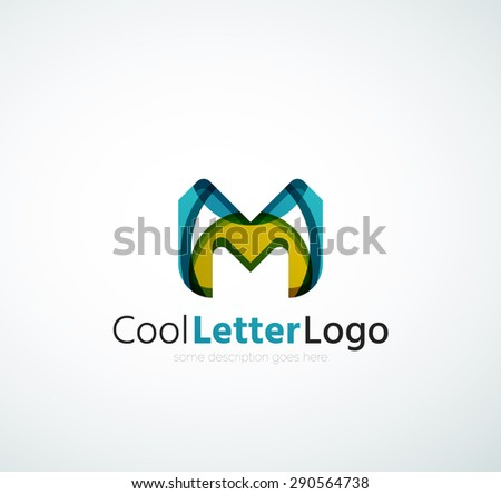 Abstract geometric company logo letter. illustration of universal shape concept made of various wave overlapping elements - stock photo