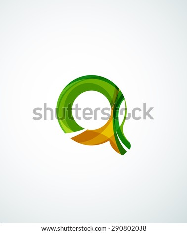 Abstract geometric company logo shape. illustration of universal shape concept made of various wave overlapping elements - stock photo