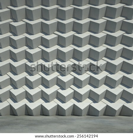 Abstract geometric concrete cubic wall. 3d background. - stock photo