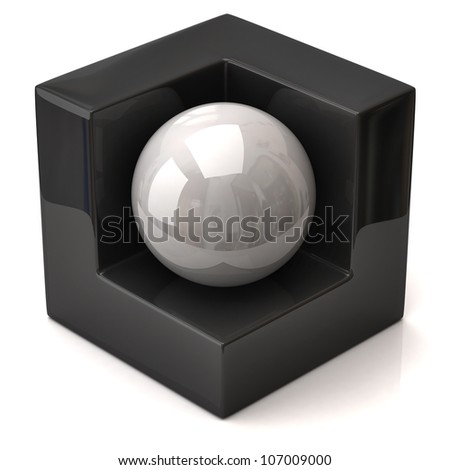Abstract geometric figure, black cube and white sphere - stock photo