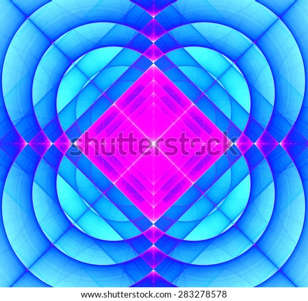 Abstract geometric fractal background with a square star in the center and decorative arches surrounding it, all in bright vivid pink and blue - stock photo