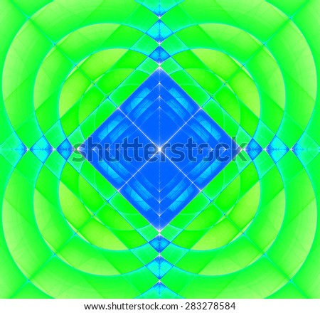 Abstract geometric fractal background with a square star in the center and decorative arches surrounding it, all in bright vivid yellow,green,blue - stock photo