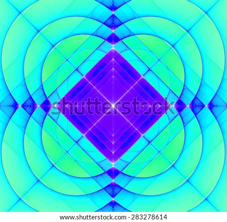 Abstract geometric fractal background with a square star in the center and decorative arches surrounding it, all in vivid cyan and purple - stock photo