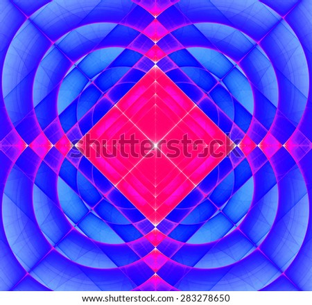 Abstract geometric fractal background with a square star in the center and decorative arches surrounding it, all in vivid purple and pink - stock photo
