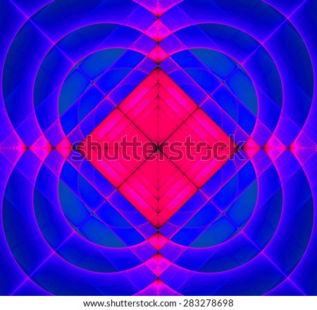 Abstract geometric fractal background with a square star in the center and decorative arches surrounding it, all in vivid pink and blue - stock photo