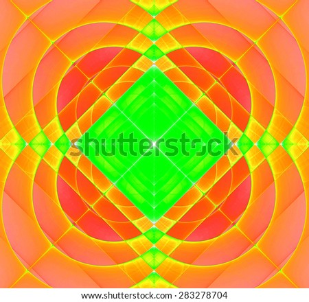 Abstract geometric fractal background with a square star in the center and decorative arches surrounding it, all in bright vivid yellow,orange,green - stock photo