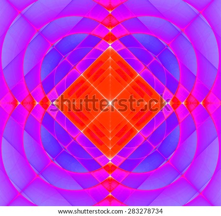 Abstract geometric fractal background with a square star in the center and decorative arches surrounding it, all in vivid pink,purple,red,yellow - stock photo