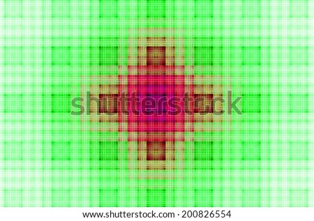 Abstract geometric grid background with a detailed colorful square pattern created by many intersecting lines, all in vivid green, pink and red colors and against white color