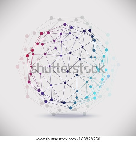 Abstract geometric lattice, the scope of molecules, the molecules in the circle. Round composition of the molecular lattice.Color picture composition for your design. - stock photo