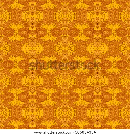 Abstract geometric monochrome background, seamless ellipses pattern orange coppery with rough surface - stock photo