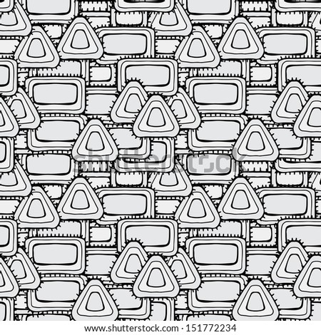Abstract geometric monochrome seamless pattern - raster version