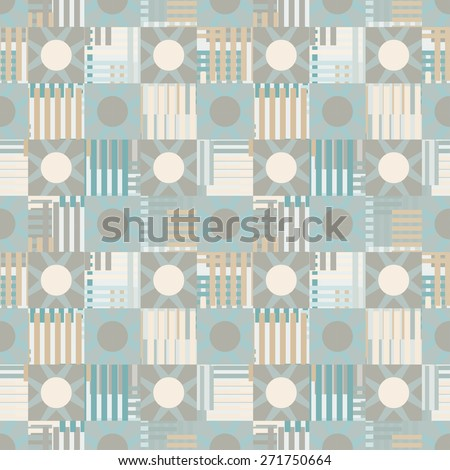 Abstract geometric mottled seamless pattern. Circles, squares, stripes, lines. Repeating background texture. Cloth design. Wallpaper, wrapping - stock photo