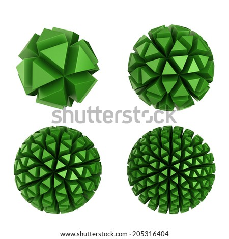 abstract geometric object with extruded polygons - stock photo