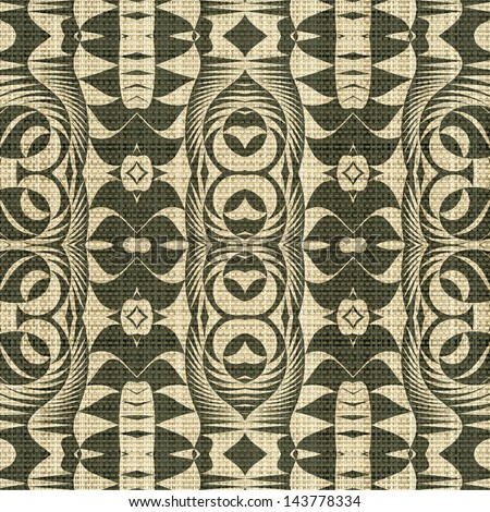 Abstract  geometric ornament printed on canvas fabric background. Seamless pattern.