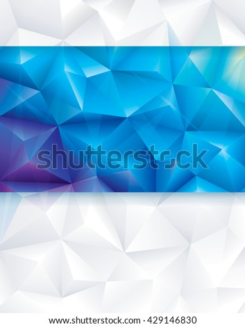 Abstract geometric polygonal blue and white background. - stock photo