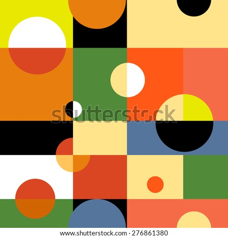 Abstract geometric raster version seamless background. Illustration for web design, prints etc. Rectangles and circles modern pattern. - stock photo