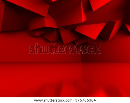 Abstract Geometric Red Cubes Background. 3d Render Illustration - stock photo