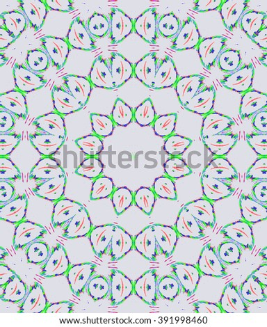 Abstract geometric seamless background. Concentric circle ornament, multicolored ellipses pattern on light gray. - stock photo