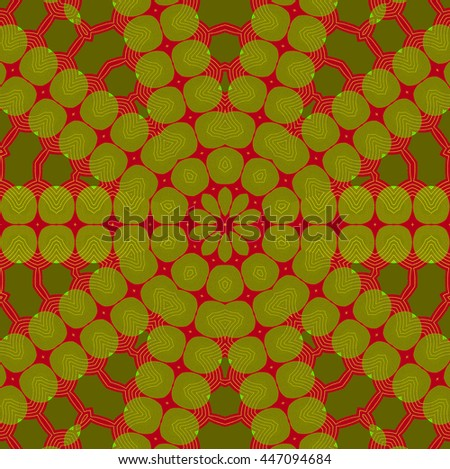 Abstract geometric seamless background. Concentric ornament, star pattern olive green and dark green on dark red. - stock photo