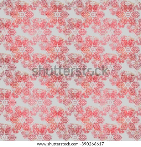 Abstract geometric seamless background. Floral pattern in pastel red shades on light gray.
