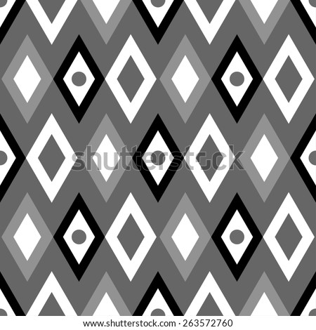 Abstract geometric seamless pattern with diamonds and circles. Modern monochrome background texture  - stock photo