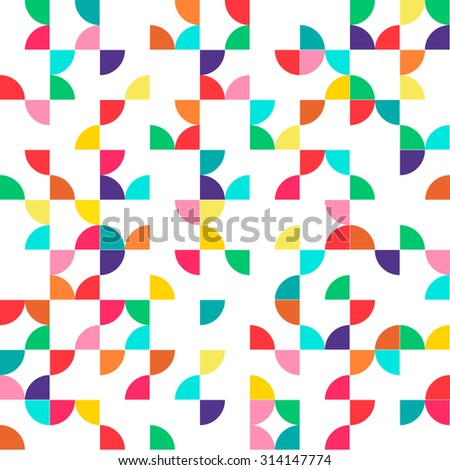 Abstract geometric seamless pattern with multicolored parts of circles. Raster version illustration can be copied without any seams. Good for paper or textile print. - stock photo