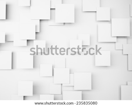 Abstract geometric shape 3d white cubes - stock photo