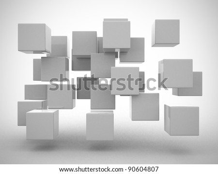 Abstract geometric shapes from cubes - 3d render - stock photo