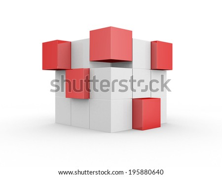 Abstract geometric shapes from cubes - 3d render illustration - stock photo