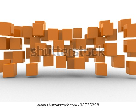 Abstract geometric shapes from cubes - 3d render illustration