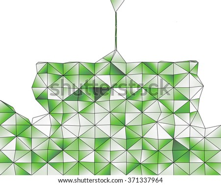 Abstract geometric structure of green gradient triangular shapes - stock photo