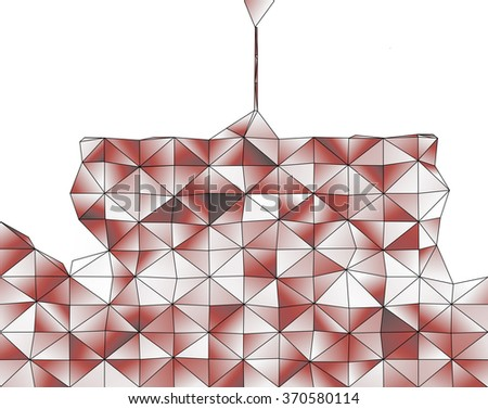 Abstract geometric structure of red gradient triangular shapes - stock photo