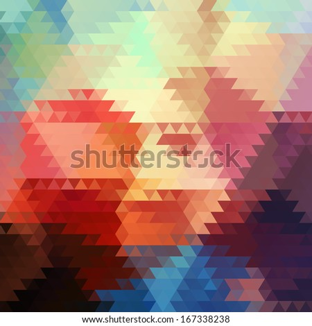 Abstract geometric triangle seamless pattern. Abstract colorful triangles background design. Retro pattern of geometric shapes. Triangle Geometrical Multicolored Background.  - stock photo