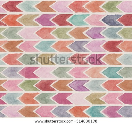 Abstract geometric watercolor hand painted striped background  - stock photo