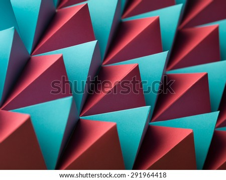 abstract geometrical background with colorful paper pyramids - stock photo