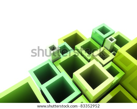 Abstract geometrical green background with frames and copyspace - stock photo