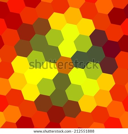 Abstract Geometrical Orange Background Pattern - Hexagon Honeycomb Design - Pixelated Flowers Texture - Creative Warm Web Backdrop - Colorful Autumn Mosaic Art - Red Tone Colors - stock photo