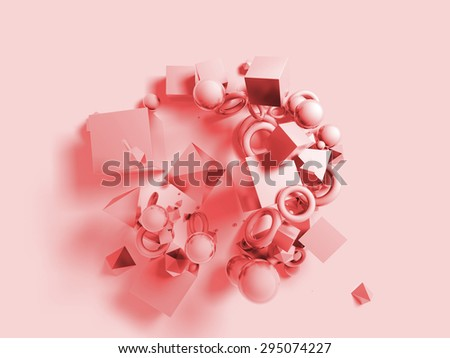 abstract geometry background with random geometry shapes collisioned above flat surface