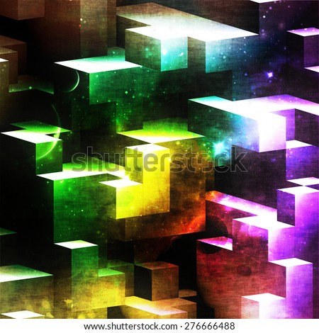 abstract geometry composition, rectangles cubic art, digital wallpaper or geometry mathematical background, shapes and details with space and galaxy style, grunge effect and shine bright effect - stock photo