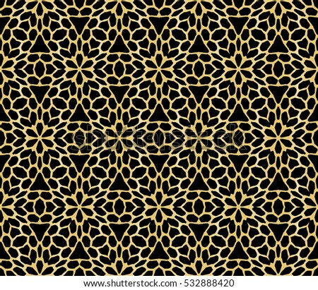 abstract geometry gold pattern on black background. Raster copy illustration